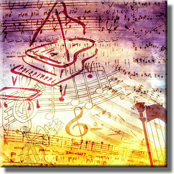 Piano Notes Vintage Picture on Stretched Canvas, Wall Art Décor, Ready to Hang