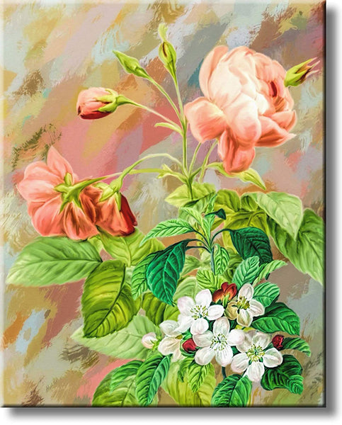 Flowers Roses Painting Picture on Stretched Canvas, Wall Art Décor, Ready to Hang