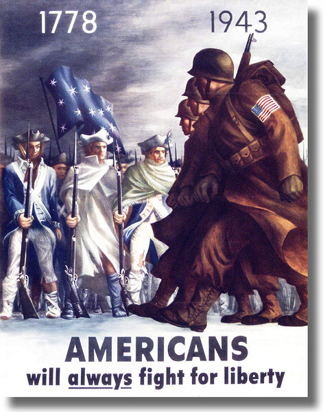 Americans Always Fight for Liberty Picture Made on Stretched Canvas Wall Art Decor Ready to Hang!.