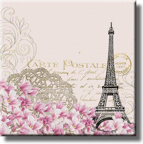 Vintage Eiffel Tower Post Card Picture on Stretched Canvas, Wall Art Decor, Ready to Hang