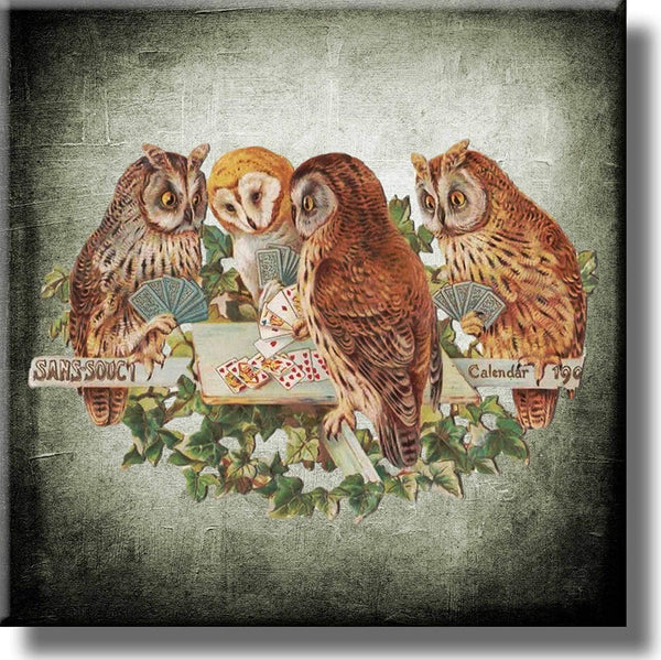 Owls Playing Poker Picture on Stretched Canvas, Wall Art Decor, Ready to Hang