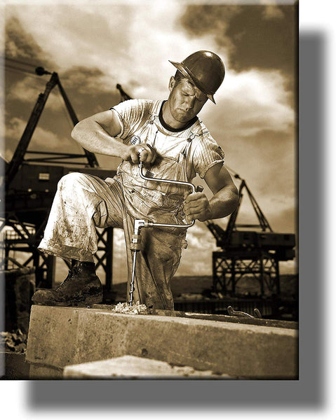 Construction Worker Picture on Stretched Canvas, Wall Art Décor, Ready to Hang!