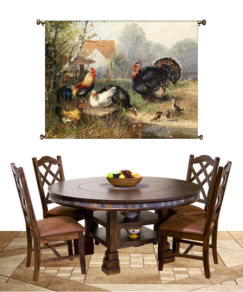 Chicken Rooster and Turkey Country Picture on Canvas Hung on Copper Rod, Ready to Hang, Wall Art Décor