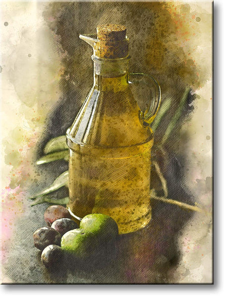Olive Oil Bottle Kitchen Picture on Stretched Canvas, Wall Art Décor, Ready to Hang
