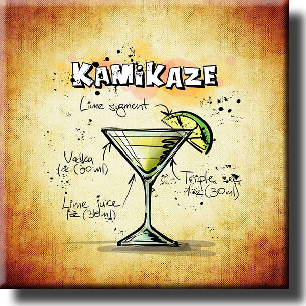 Kamikaze Cocktail Recipe Drink Picture on Stretched Canvas, Wall Art Decor, Ready to Hang!