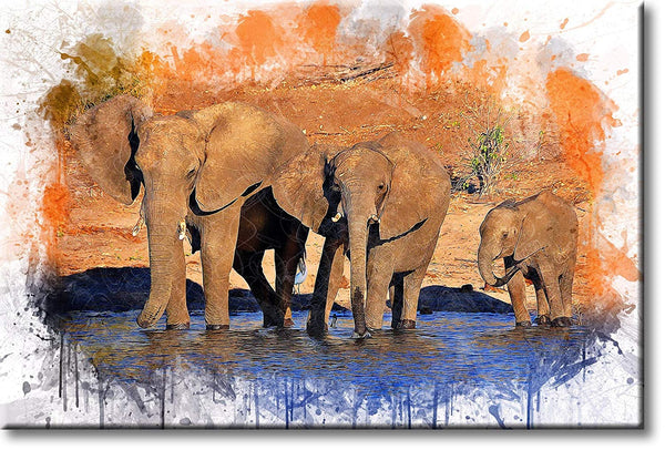 African Elephants Crossing Water Picture on Stretched Canvas, Wall Art Décor, Ready to Hang