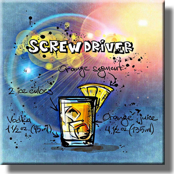 Screwdriver Cocktail Recipe Picture on Stretched Canvas, Wall Art Decor, Ready to Hang!