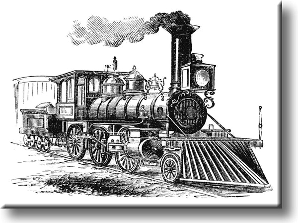 Vintage Black and White Steam Engine Picture on Stretched Canvas, Wall Art Décor, Ready to Hang