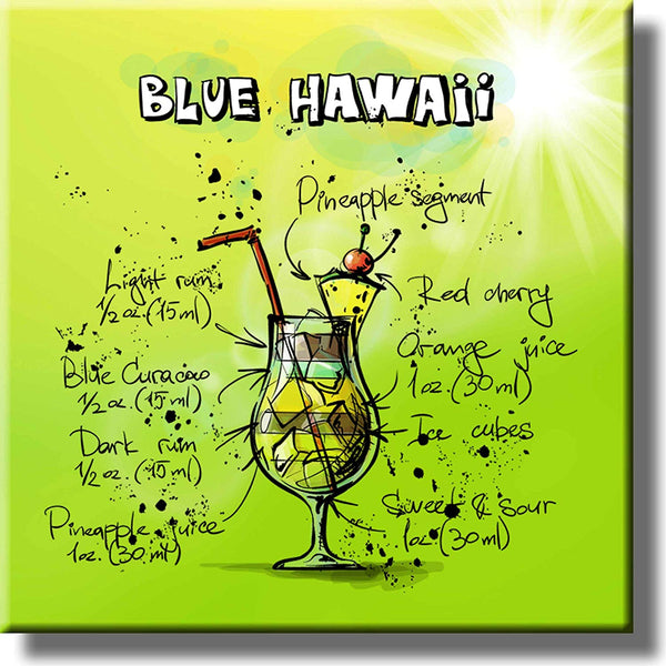 Blue Hawaii Recipe Drink Picture on Stretched Canvas, Wall Art Decor, Ready to Hang!