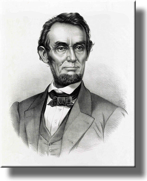 Abraham Lincoln Portrait Painting Picture on Stretched Canvas, Wall Art Décor, Ready to Hang!