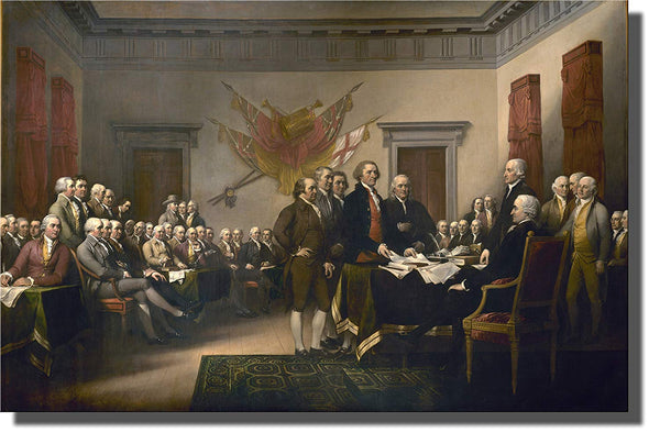 Declaration of Independence Picture on Stretched Canvas, Wall Art Decor Ready to Hang!.