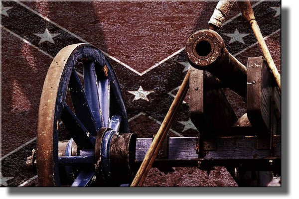 Civil War Cannon Picture Made on Wood, Wall Art Decor Ready to Hang.