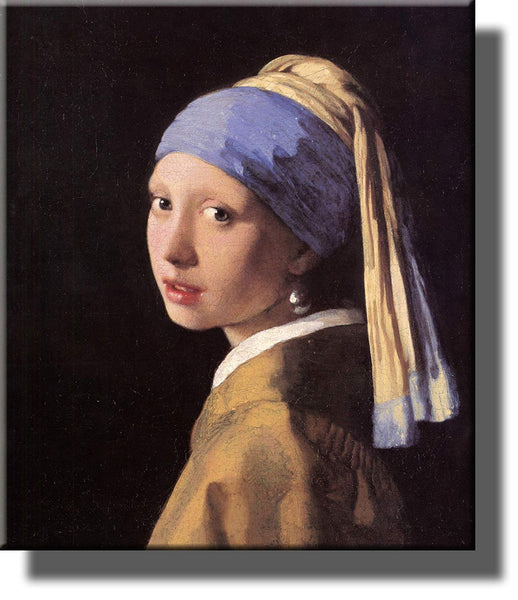 The Girl with a Pearl Earring by Johannes Vermeer Picture on Stretched Canvas, Wall Art Decor Ready to Hang!.