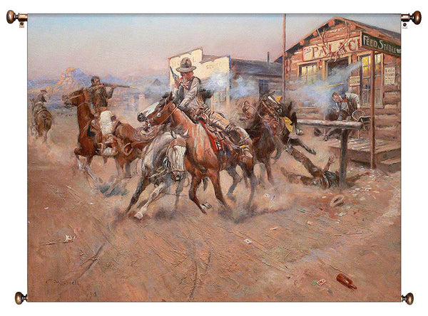 Cowboy Fight Western Picture on Canvas Hung on Copper Rod, Ready to Hang, Wall Art Décor