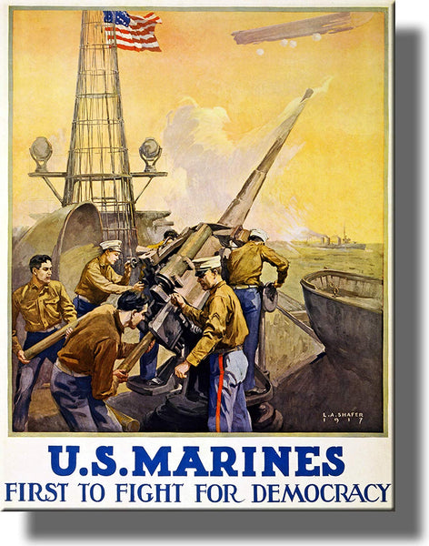 U.S. Marines, First to Fight for Democracy Vintage Picture on Stretched Canvas Wall Art Décor Framed Ready to Hang!