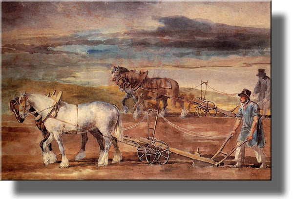 Farmers Plowing by Theodore Gericault Picture on Stretched Canvas, Wall Art Decor, Ready to Hang!.