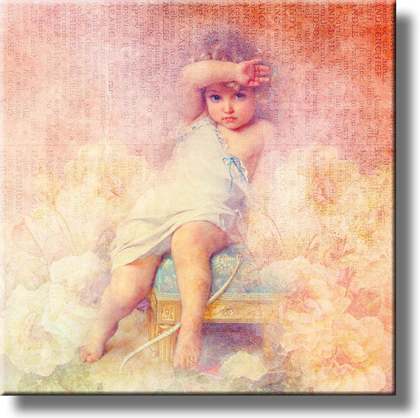 A Child Sitting on Stool Vintage Picture on Stretched Canvas, Wall Art Decor, Ready to Hang