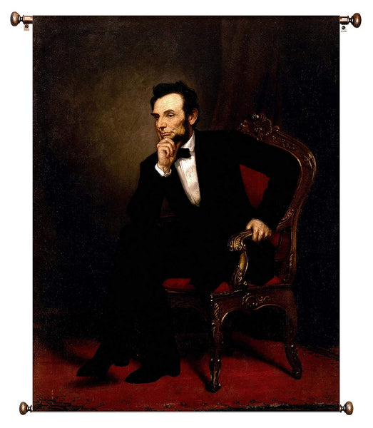 Abraham Lincoln Sitting Portrait by Healy on Canvas Hung on Copper Rod, Ready to Hang, Wall Art Décor