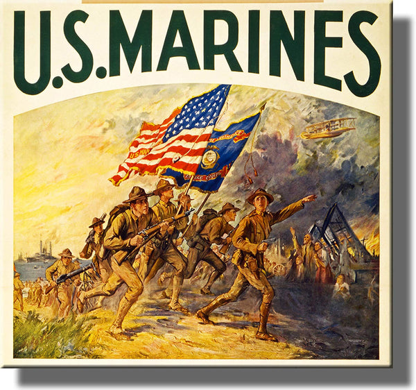 Vintage US Marines Charge Picture Made on Stretched Canvas Wall Art Decor Ready to Hang!.
