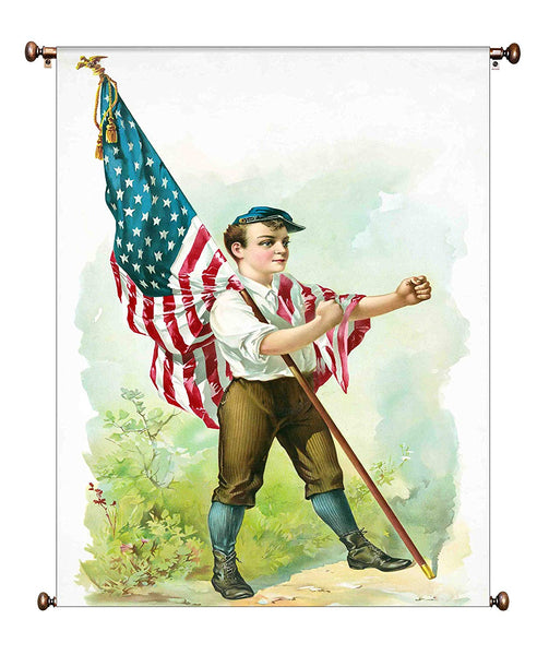 Boy Marching with American Flag Vintage Picture on Canvas Hung on Copper Rod, Ready to Hang, Wall Art Decor