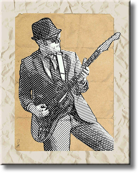 Blues Guitar Jam Picture on Stretched Canvas, Wall Art Décor, Ready to Hang