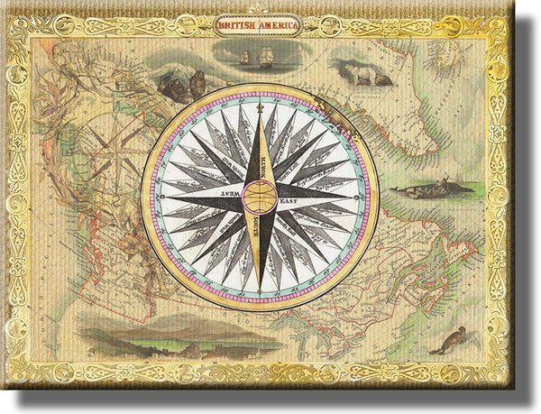 Vintage Map and Compass Picture on Stretched Canvas, Wall Art Décor, Ready to Hang