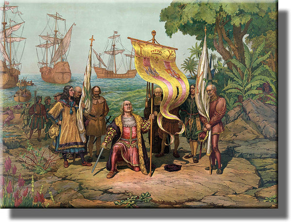 Columbus taking Possession of New Country Historic Picture on Stretched Canvas, Wall Art Décor, Ready to Hang!