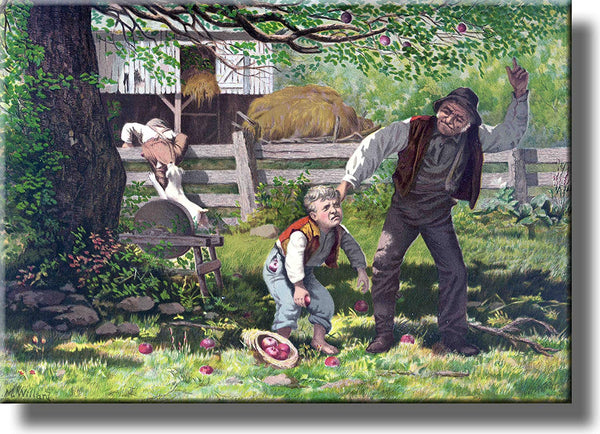 Boy Stealing Apples Picture Made on Stretched Canvas Wall Art Decor Ready to Hang!.