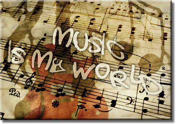 Music is My World Picture on Stretched Canvas, Wall Art Décor, Ready to Hang