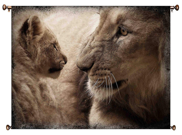 Lion and Cub Picture on Canvas Hung on Copper Rod, Ready to Hang, Wall Art Décor
