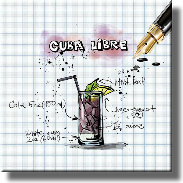 Cuba Libre Cocktail Recipe Drink Picture on Stretched Canvas, Wall Art Decor, Ready to Hang!