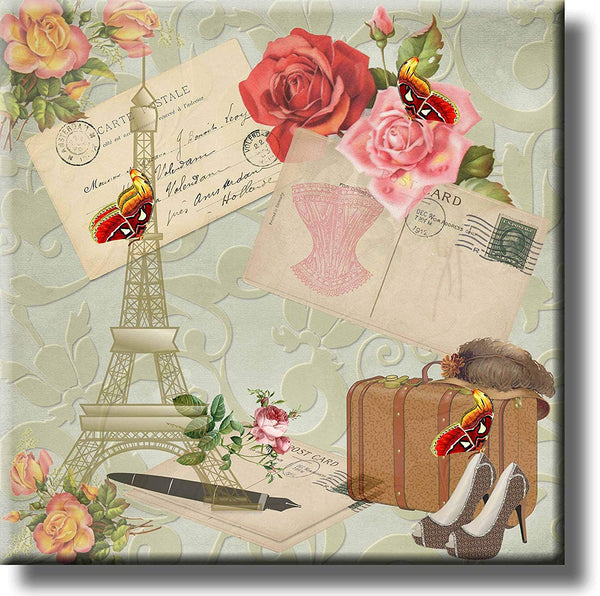 Travel to Paris Post Card Vintage Picture on Stretched Canvas, Wall Art Décor, Ready to Hang