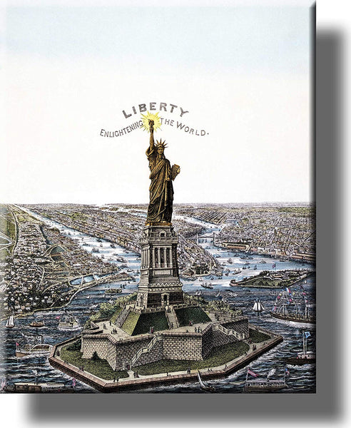 Statue of Liberty, Enlightening the World Picture on Stretched Canvas Wall Art Decor Framed Ready to Hang!