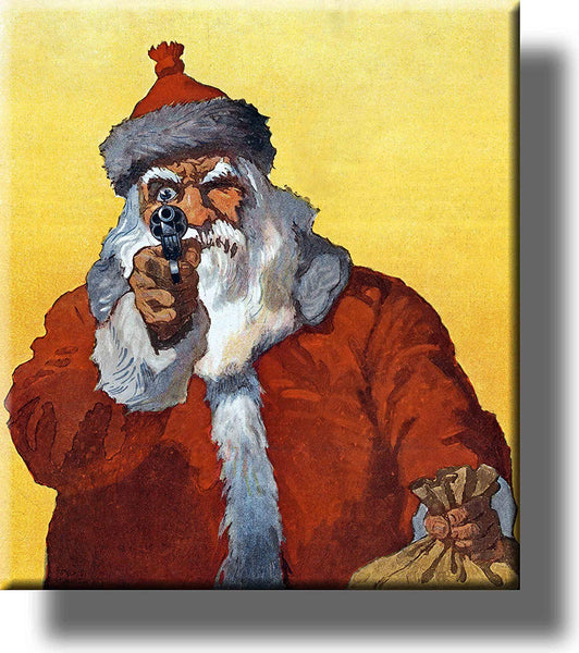 Dangerous Santa Claus Holding Gun Picture on Stretched Canvas Wall Art Décor Framed Ready to Hang!