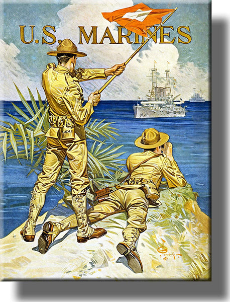 U.S. Marines Vintage Picture on Stretched Canvas Wall Art Decor Framed Ready to Hang!