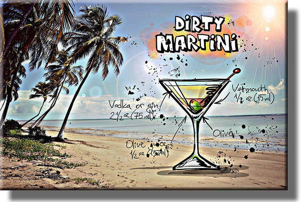 Dirty Martini Cocktail Recipe Drink Picture on Stretched Canvas, Wall Art Decor, Ready to Hang!