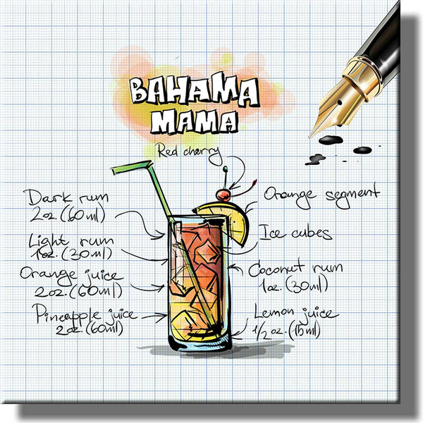 Bahama Mama Drink Recipe Picture on Stretched Canvas, Wall Art Decor, Ready to Hang!