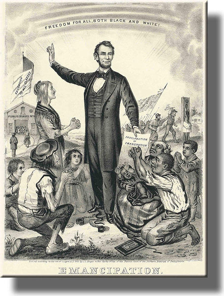 Lincoln Emancipation Proclamation Picture on Stretched Canvas Wall Art Décor Framed Ready to Hang!
