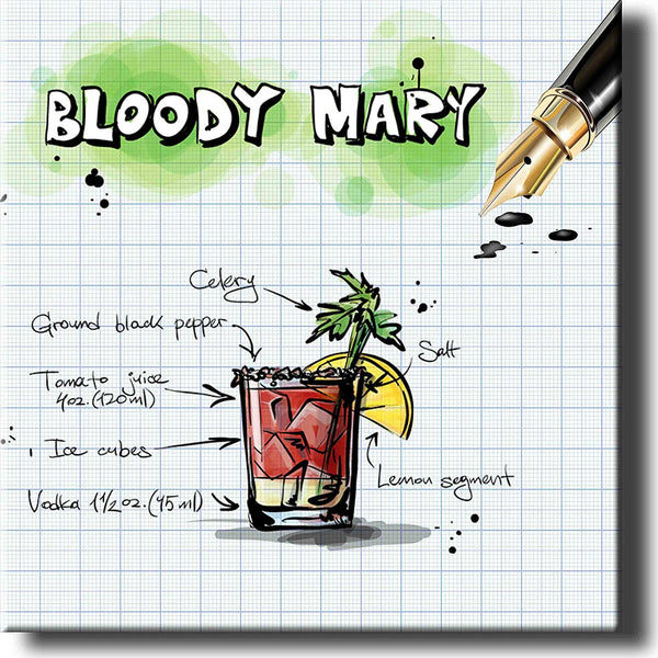 Bloody Mary Alcohol Drink Graphic Picture on Stretched Canvas, Wall Art Decor, Ready to Hang!