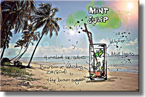 Mint Julep Cocktail Recipe Drink Picture on Stretched Canvas, Wall Art Decor, Ready to Hang!
