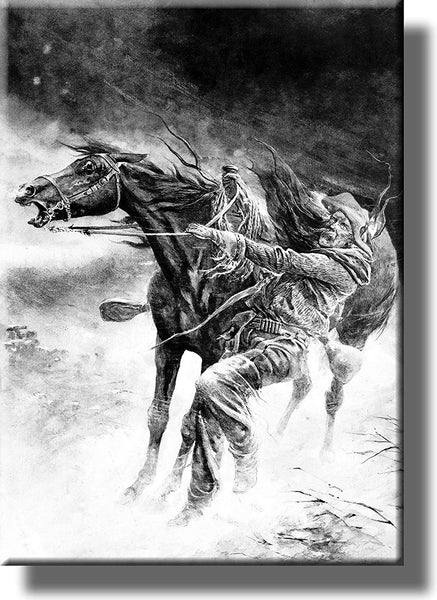Horse and Cowboy in a Blizzard Picture on Stretched Canvas Wall Art Décor Framed Ready to Hang!