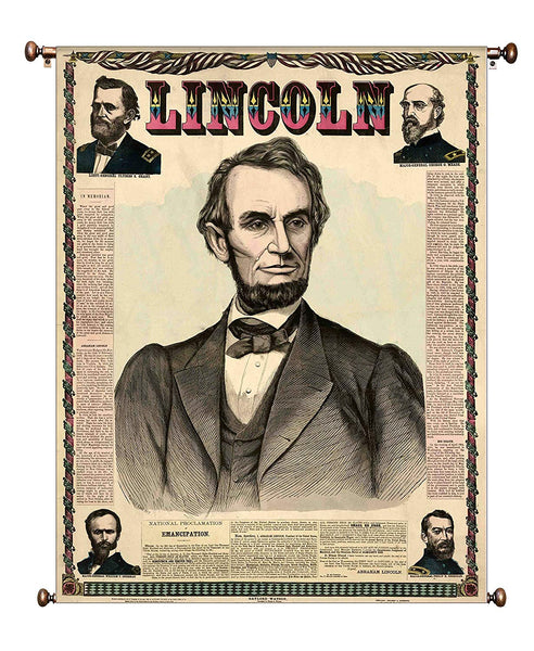 Abraham Lincoln in Newspaper Vintage Portrait on Canvas Hung on Copper Rod, Ready to Hang, Wall Art Décor