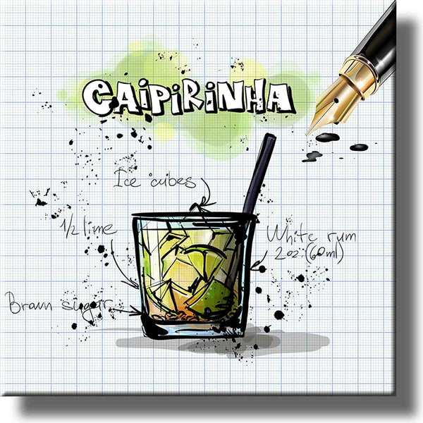 Caipirinhna Recipe Drink Picture on Stretched Canvas, Wall Art Decor, Ready to Hang!