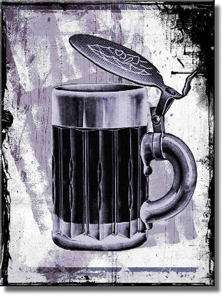 Vintage Beer Iron Stein Mug Picture on Stretched Canvas, Wall Art Décor, Ready to Hang