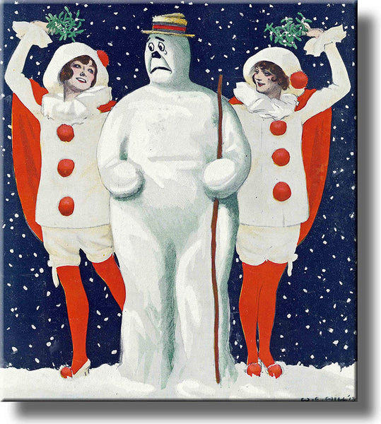 Snowman Christmas Art Picture Made on Stretched Canvas Wall Art Decor Ready to Hang!.