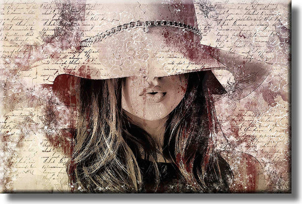 Girl with the Hat Fashion Art Picture on Stretched Canvas, Wall Art Decor, Ready to Hang