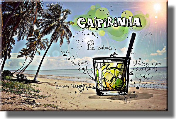 Caipirinhna Drink Picture on Stretched Canvas, Wall Art Decor, Ready to Hang!