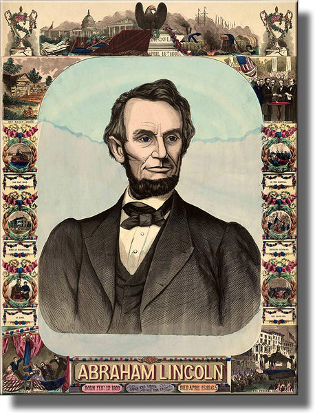 Abraham Lincoln Antique Picture Made on Stretched Canvas Wall Art Decor Ready to Hang!.