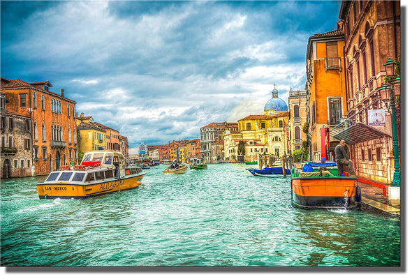 Venice Italy Gondola 3 PC Picture on Stretched Canvas, Wall Art Decor, Ready to Hang!.