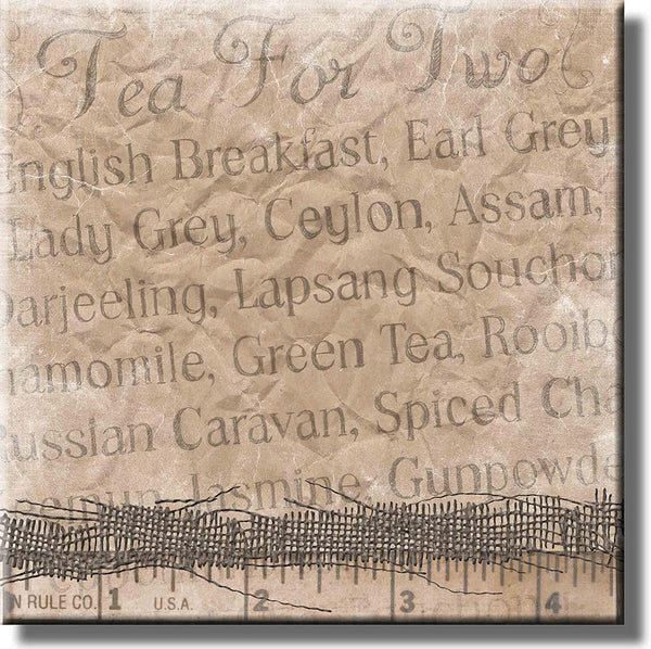 Tea for Two Tea Names and Signs Picture on Stretched Canvas, Wall Art Décor, Ready to Hang